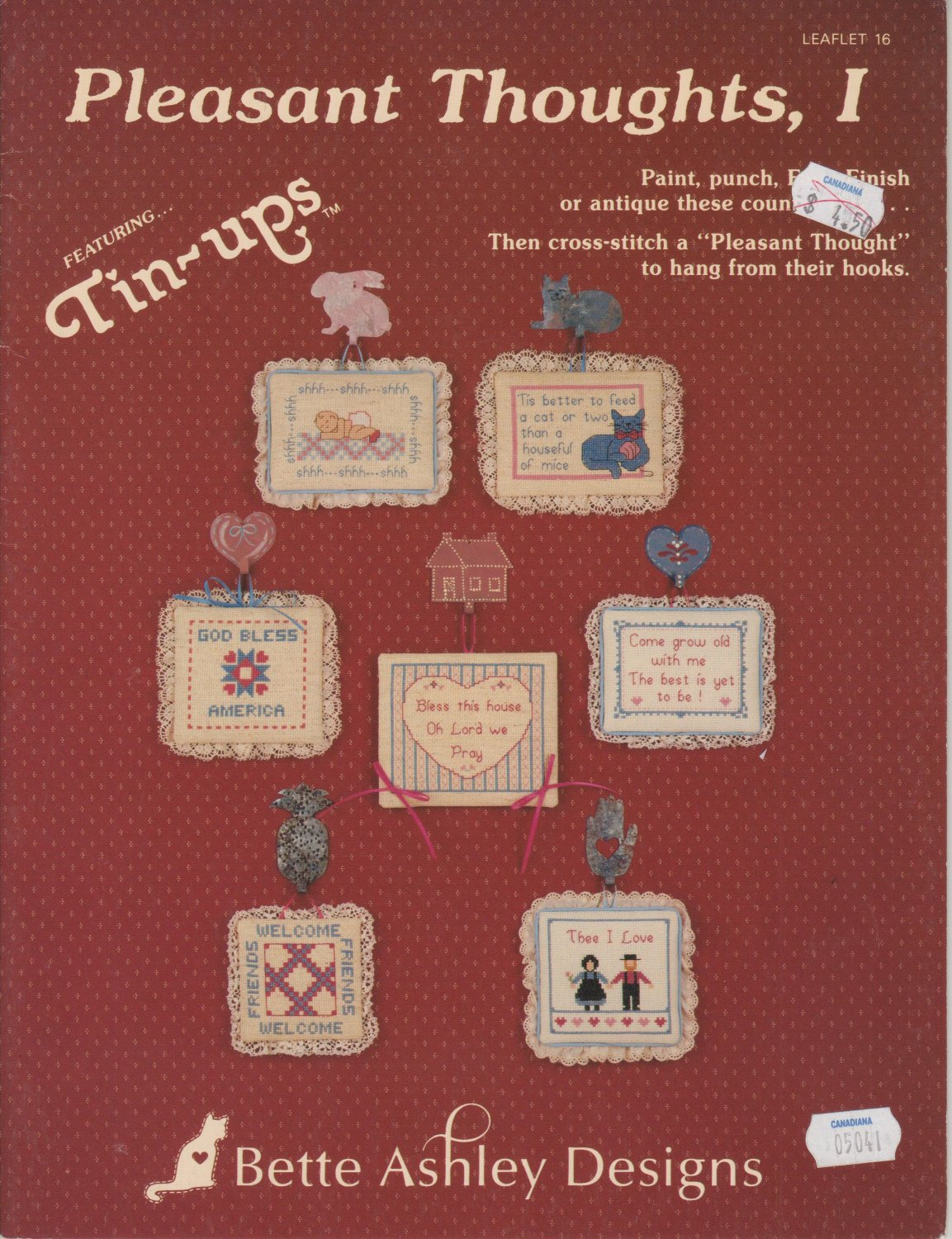 Betty Asley Designs 1987 Cross Stitch Pattern Leaflet 16 Pleasant Thoughts I