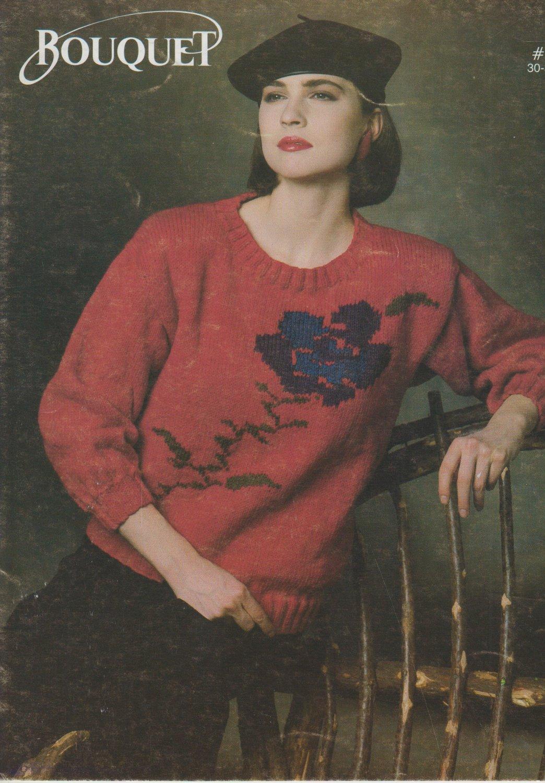 Bouquet Knitting Pattern #743 Flower Print Sweater Pattern