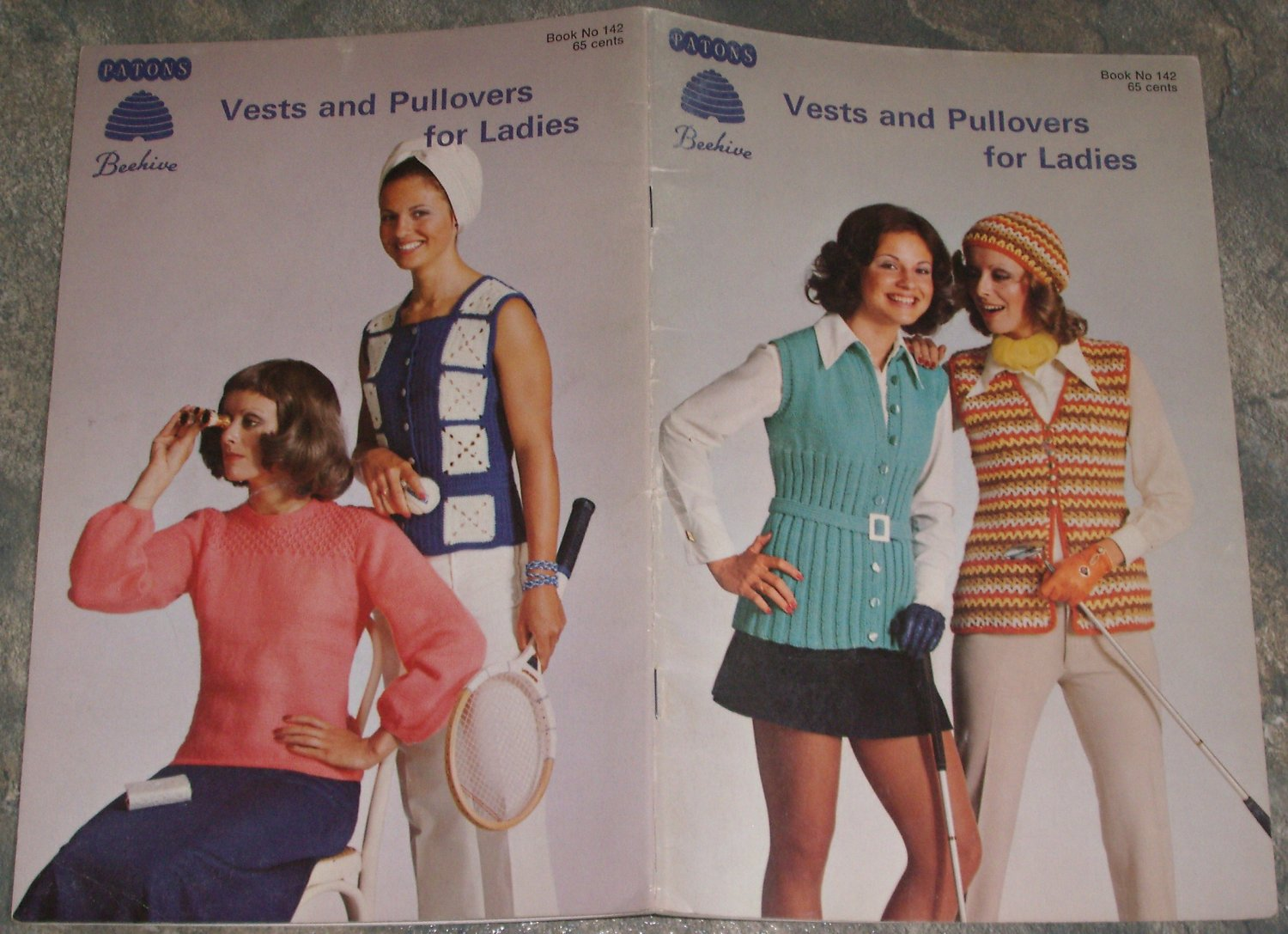 Patons Beehive Knit/Crochet Pattern Book No. 142 Vests and Pullovers for Ladies