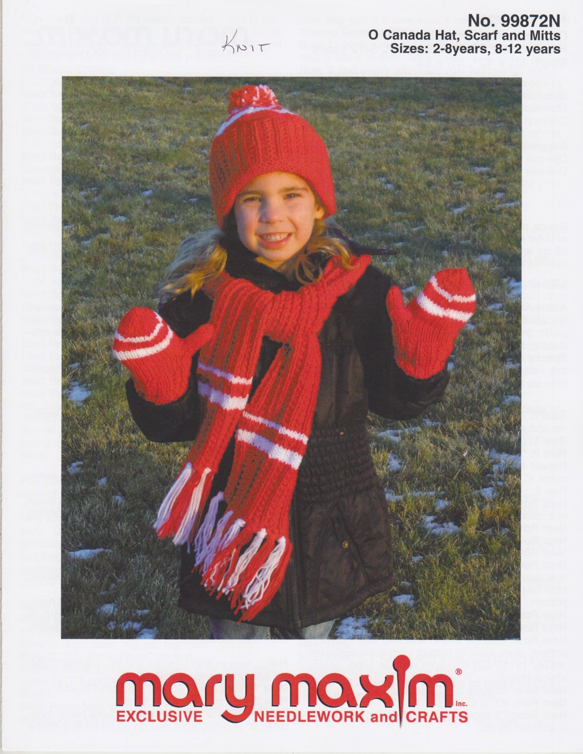 Mary Maxim O Canada Hat Scarf Mitts Knitting Pattern No.99872N