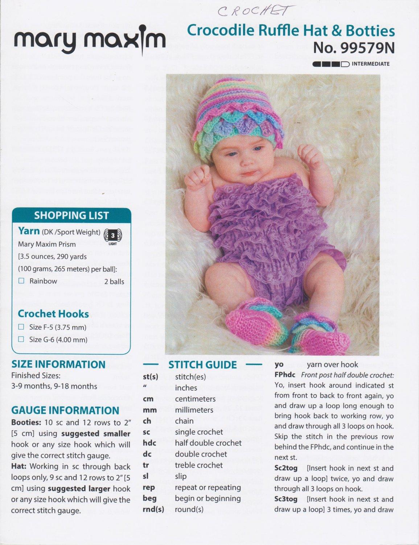 Mary Maxim Crocodile Ruffle Hat & Booties Crochet Pattern No.99579N