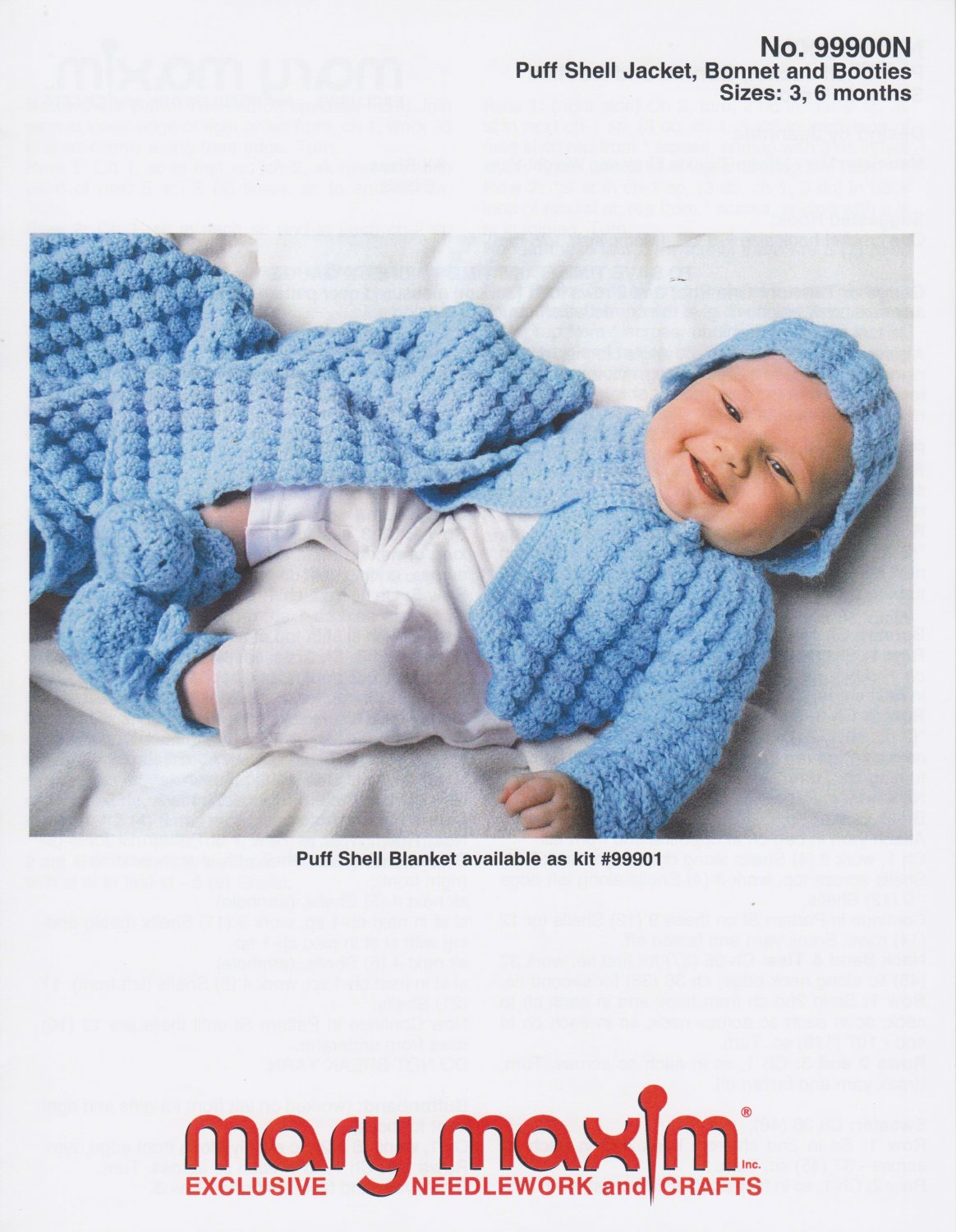 Mary Maxim Crochet Pattern #99900N Puff Shell Jacket Bonnet and Booties