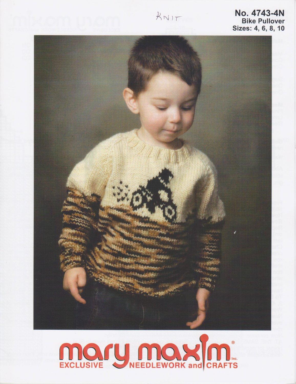 Mary Maxim Bike Pullover Knitting Pattern No.4743-4N
