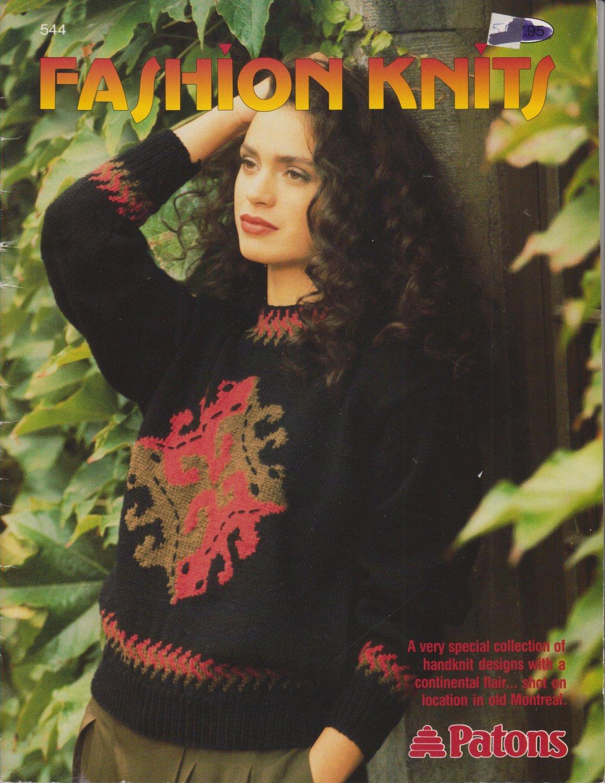 Patons 1990 Knitting Pattern book Fashion Knits #544
