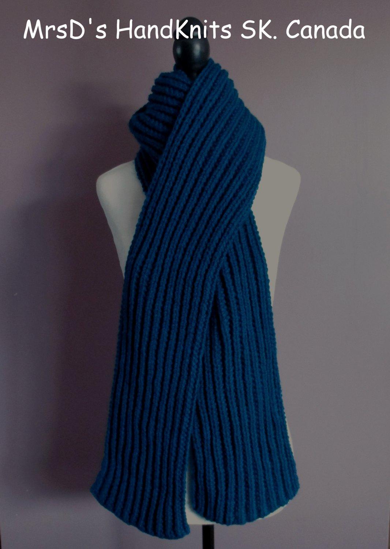 Long Scarf 82 Inch Dark Teal-Peacock Blue Handknit Ribbed Scarf