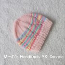 Hand Knit Preemie Baby Beanie Hat Pink Multicolor Mix