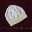 Hand Knit Baby Hat Light Yellow and White Striped Baby Beanie
