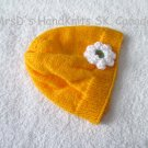 Handknit Golden Tangerine Yellow Baby/Toddler Girl Beanie Hat