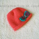 Hand Knit Coral-Salmon Color Baby Girl Beanie Hat