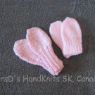 2 Pair Pink Hand Made Hand Knit Baby Thumbless Mittens