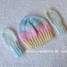 HandKnit Newborn Baby Multicolor #2 Beanie Hat and Mittens