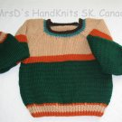 Hand Knit Child's Pullover Multicolor Sweater Green Beige