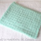 Hand Knit Baby Blanket Lap Blanket Mint Green 31 X 41 Inches