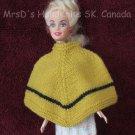 11-1/2 Inch Fashion Dolls Poncho Hand Made Hand Knit Doll Clothing