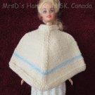 11.5 Inch Fashion Doll Poncho Handknit Off-White with Blue Stripe