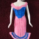 11.5 Inch Fashion Doll Dress Handknit Bright Pink and Royal Blue