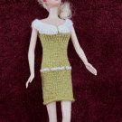 Short Doll Dress 11.5 Inch Fashion Dolls Yellow-Green and Off-White Dress