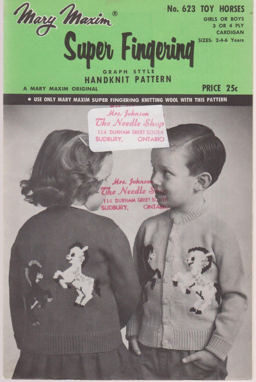 Mary Maxim Knitting Pattern No.623 Toy Horses To Knit Girls Or Boys Cardigan