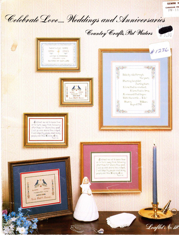 Celebrate Love... Weddings & Anniversaries 1987 Cross Stitch Pattern Leaflet #110