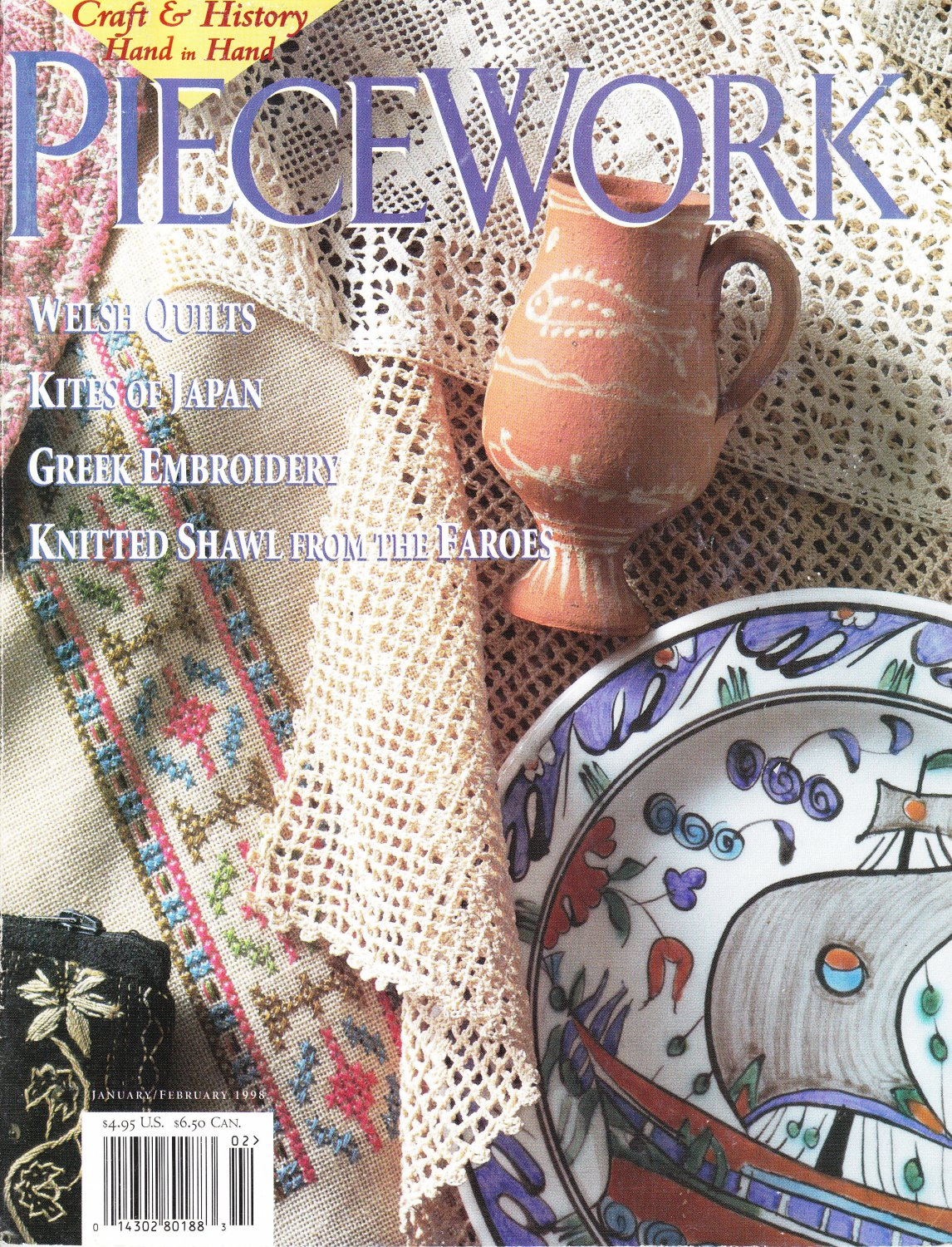 Piecework Magazine 1998 Embroidery Quilting Knitting Hooked Mats