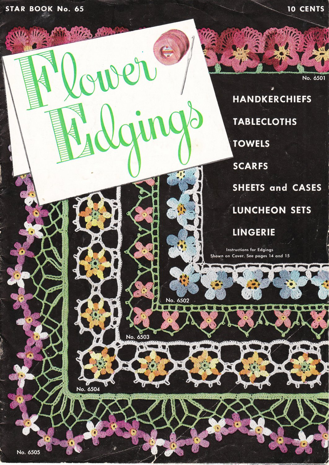 American Thread Star Book No.65 Crochet Flower Edgings 1949 Pattern Booklet