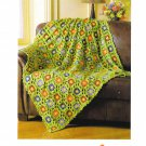 Mary Maxim #99373N Field Of Flowers Throw Crochet Pattern