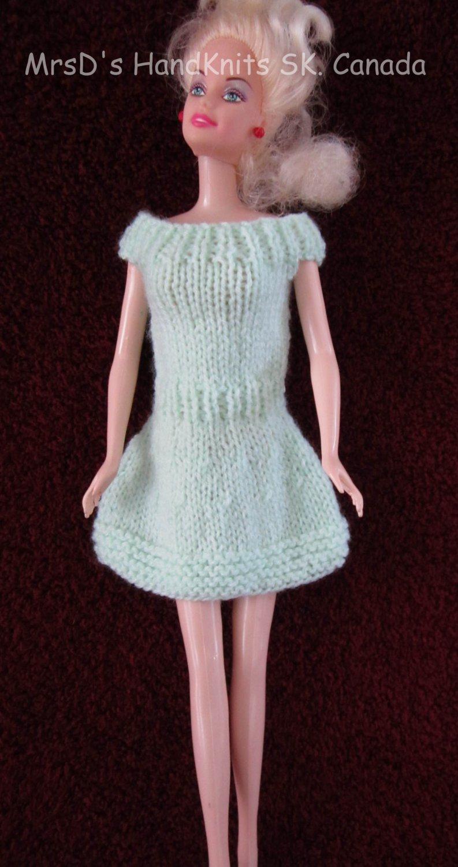 Handknit 11.5 Inch Fashion Doll Short Mint Green Dress