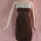Brown & Beige 11.5 Inch Handknit Strapless Fashion Doll Dress