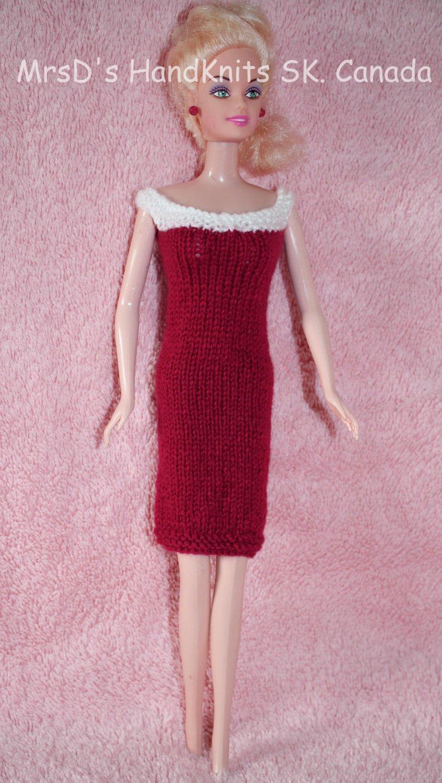 Hand Knit 11-1/2 Inch Fashion Dolls Short Dress Red with White Neckline