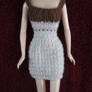 11.5 Inch Fashion Dolls Hand Knit Short Dress Beige with Brown
