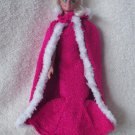 HandKnit Long Doll Dress Gown & Cape Dark Pink Fits 11.5 Inch Fashion Dolls