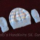 Hand Knit Preemie/Newborn Baby Beanie Hat & Mittens Blue with Pastels