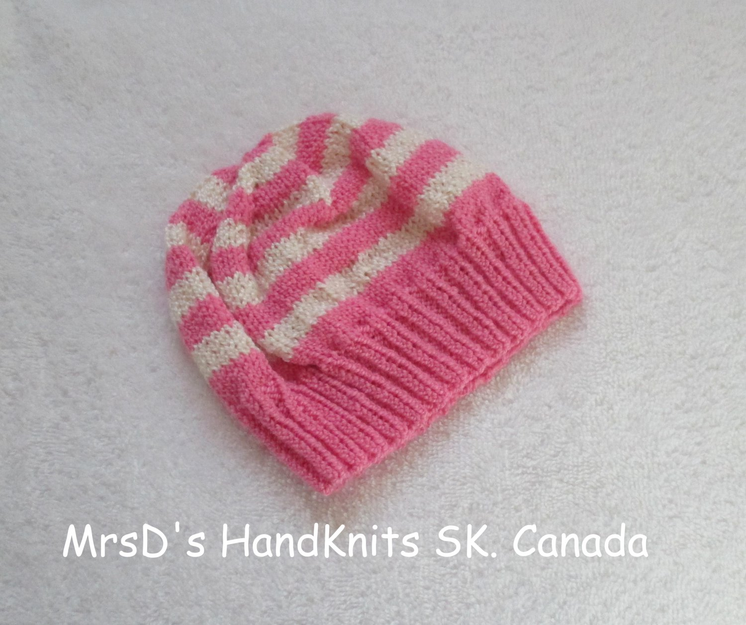 Hand Made Hand Knit Baby Beanie Hat Rose Pink & Cream