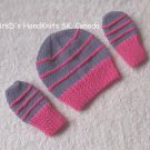 Hand Knit Preemie Newborn Baby Beanie Hat and Mittens Set - Mauve and Pink