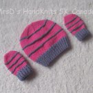 Hand Knit Preemie Newborn Baby Beanie Hat and Mittens Set Pink and Mauve #2