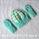 Hand Made Knitted Preemie Newborn Baby Beanie Hat & Mittens Turquoise & Off-White