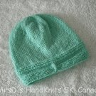 Hand Knit Turquoise Baby Beanie Hat #1