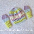 Handknit Newborn Baby Multicolor Beanie Hat and Mittens Set #3