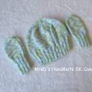 Handknit Baby Hat & Mittens Variegated Blue Green White