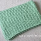 "Mint Green Handknit Baby Blanket Afghan Lap Blanket 21"" X 31"""