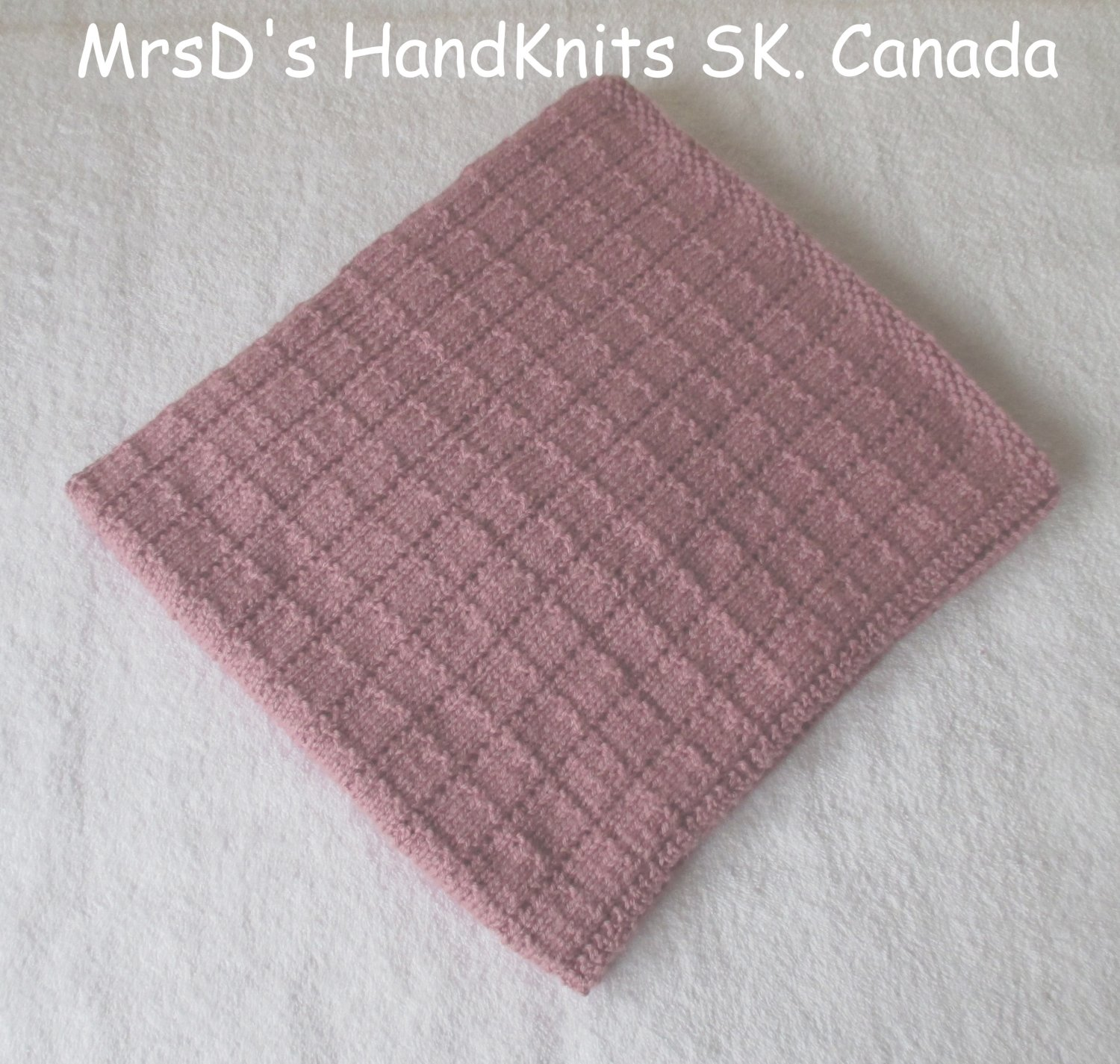 Hand Knit 27 X 31 inch Baby Blanket Lap Blanket Afghan Dusty Rose Color