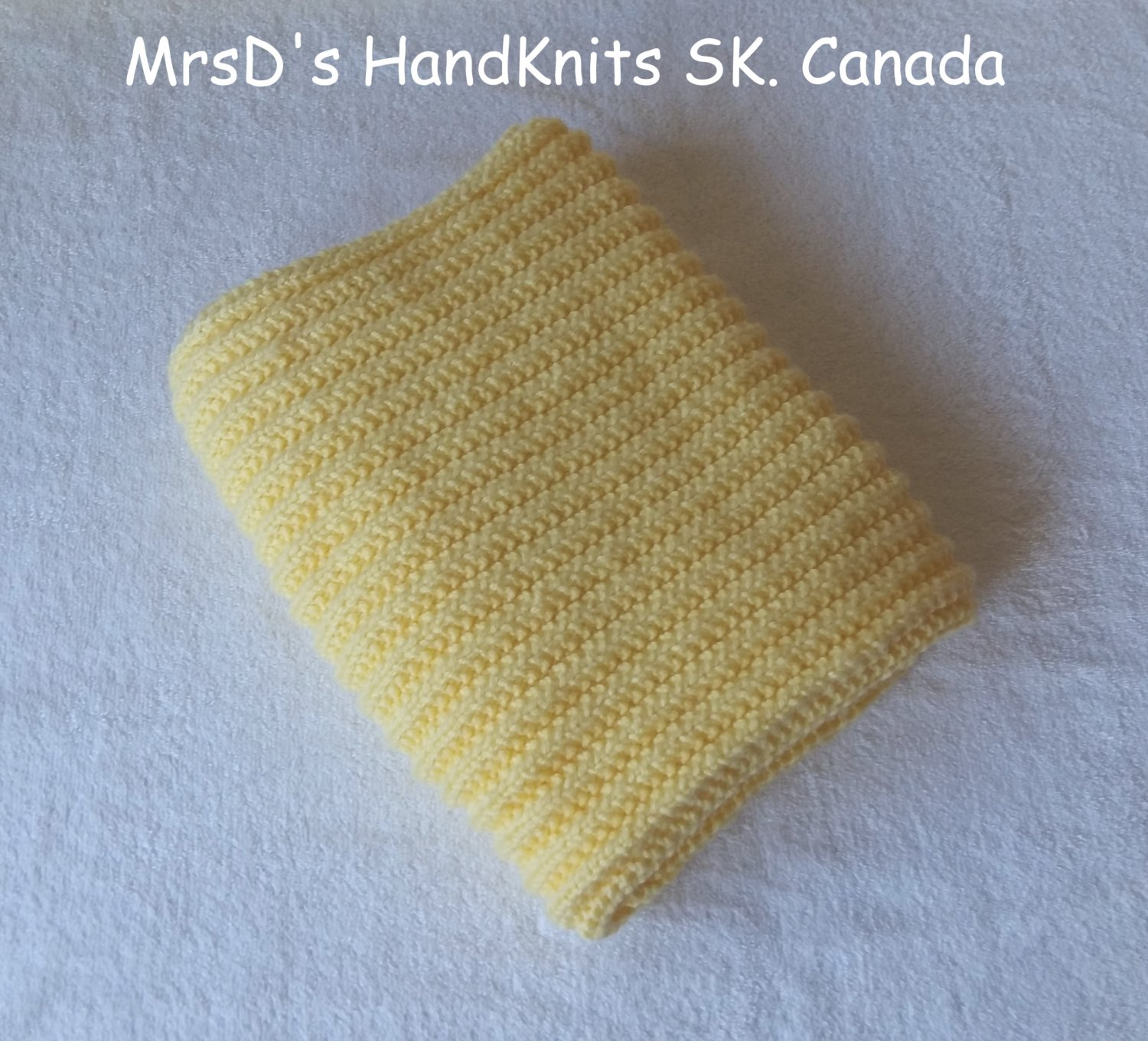 Hand Knit Yellow Baby Blanket Lap Blanket Afghan 25 X 35 Inches