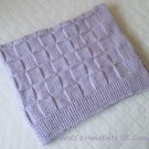 Hand Knit Lilac Light Purple Baby Blanket Lap Blanket Checker Pattern 27 X 35 Inches