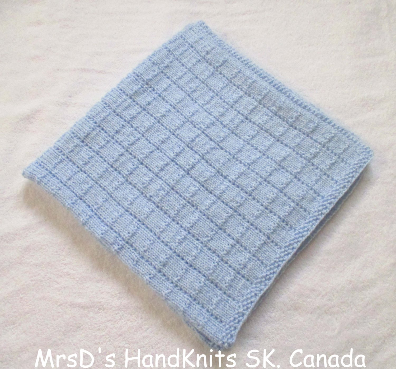 Blue Handknit 31 X 31 Inches Baby Blanket Lap Blanket Afghan