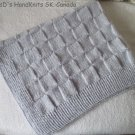 Hand Knit Baby Blanket Lap Blanket Grey Blue 30 X 35 Inches Checker Pattern
