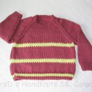 Hand Knit Child's Pullover Sweater Burgundy Brown with Yellow Striping