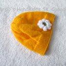 Handknit Golden Tangerine Yellow Baby Girl Beanie Hat