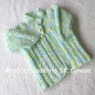 Knit Baby Sweater Jacket Variegated Blue Green White