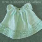 Mint Green Handknit Baby Dress Newborn to 6 Months