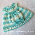 Hand Knit 2 Piece Baby Girl Dress and Hat Set For 6-18 Months